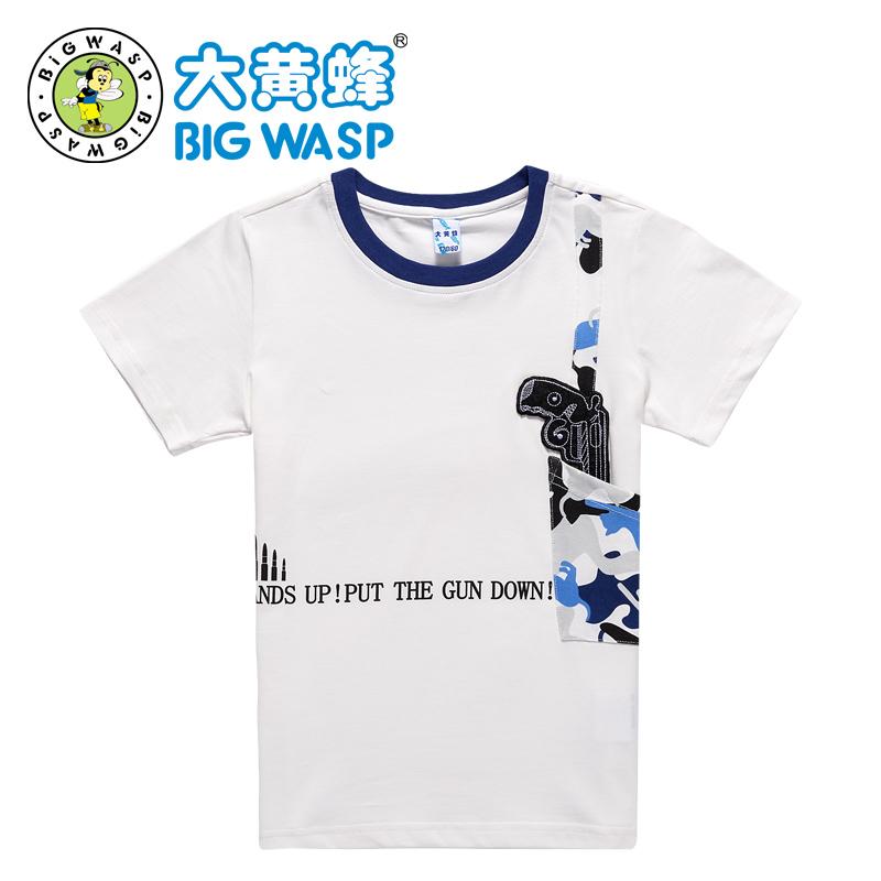 大黄蜂童装 男童夏装2017新款 男童短袖休闲T恤 棉上衣中大童休闲透气 简约好搭 个性拼色