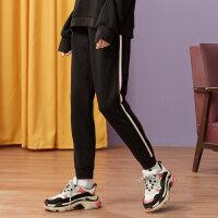 【1件3折到手价:58.5】美特斯邦威休闲裤女秋装新款抽绳撞色条纹舒适束脚远动长裤
