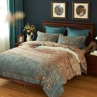 美式加厚纯棉磨毛床单四件套冬季保暖磨绒高端绣花床品被罩