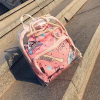 少女包包女2018夏新款ins超火包韩版透明双肩包旅行小背包子母包