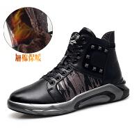 冬季高帮板鞋新品男士休闲真皮运动鞋子男加绒棉鞋潮 黑色