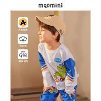 【2件3折后价:90】【云朵棉】MQD童装男小童恐龙T恤21秋装新款图案长袖体恤运动上衣