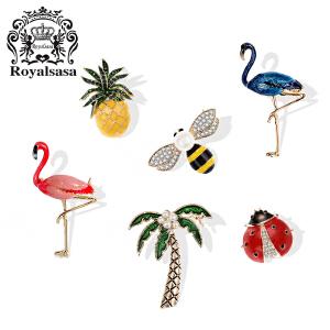 皇家莎莎韩版菠萝椰树领扣领针 女衬衫领子瓢虫蜜蜂胸针女配饰品