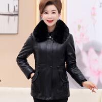 中老年人女装冬装棉袄60-70岁80奶奶老人衣服pu短款加绒皮衣外套