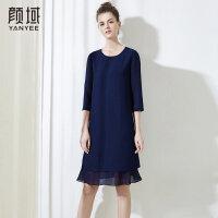 颜域品牌女装2018夏季装新款直筒拼接七分袖圆领中长款连衣裙简约