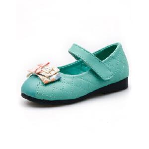 比比我童鞋2017新款女童单鞋秋季中童公主鞋平底学生鞋蝴蝶结韩版小皮鞋