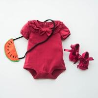 婴儿连体衣服冬季加厚宝宝冬装6新生儿0岁1过年喜庆红色新年3个月