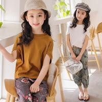 女童夏装新款套装蝙蝠袖儿童两件套灯笼裤夏季中大童棉麻衣服