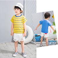 男童T恤短袖夏装新款韩版宝宝时尚潮衣 儿童条纹上衣