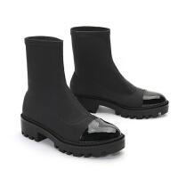 马丁靴女短靴2018新款网红百搭学生厚底弹力袜子裸靴平底切尔西靴 黑色 ZA 厚底袜靴