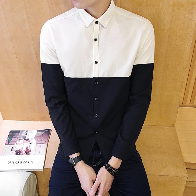 新款男士长袖衬衫时尚拼接青少年修身衬衫