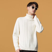 【2件1.5折价:35.9,可叠券】美特斯邦威高领毛衣男冬季新款时尚白色针织毛衫青少年套头衫