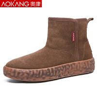 �W康(AOKANG)雪地靴男短筒休�e高�兔扪ザ�季保暖加�q棉鞋男短靴