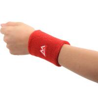 男女户外运动护腕排篮球护具羽毛网球擦汗健身透气吸汗护手腕带 红色均码 两只装