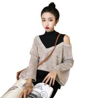 秋装女装韩版复古小高领假两件拼色露肩宽松长袖打底衫T恤上衣潮 图色 均码