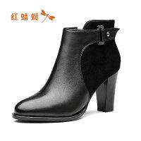 【领�涣⒓�150】红蜻蜓短靴女加绒保暖冬季2019优雅高跟女鞋粗跟棉靴女鞋
