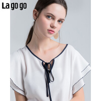 Lagogo/拉谷谷2019夏季新款时尚圆领撞色系带休闲T恤女HASS333Q14