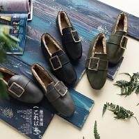 冬季女士新款方扣皮鞋加绒保暖低帮棉鞋百搭潮流平底鞋潮 G23