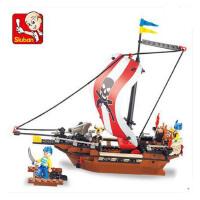小鲁班益智拼装积木儿童智力拼插玩具海盗船模型男孩6岁以上