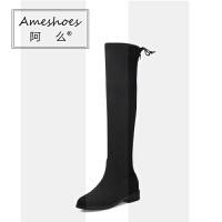 女鞋2018冬新款粗跟女靴英伦长筒瘦瘦靴子百搭学生过膝长靴女SN0448 黑色