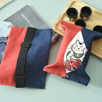 日式招财猫卡通布艺棉麻抽纸包家用车载纸巾盒客厅厨房纸巾套布套