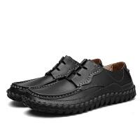 宽脚男鞋秋季男士商务休闲鞋透气大头鞋加宽软面皮圆头真皮鞋子男