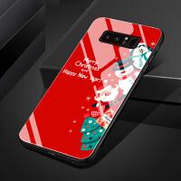 三星s7e三星note8 note9手机壳玻璃套硅胶保护圣诞节老人快乐可爱卡通情侣圣诞树雪人