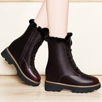 古奇天伦 马丁靴女韩版内增高女鞋雪地靴厚底短靴坡跟高跟女靴子秋冬 GQ8588