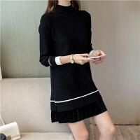 韩版中长款半高领套头毛衣女秋冬厚打底衫针织连衣裙