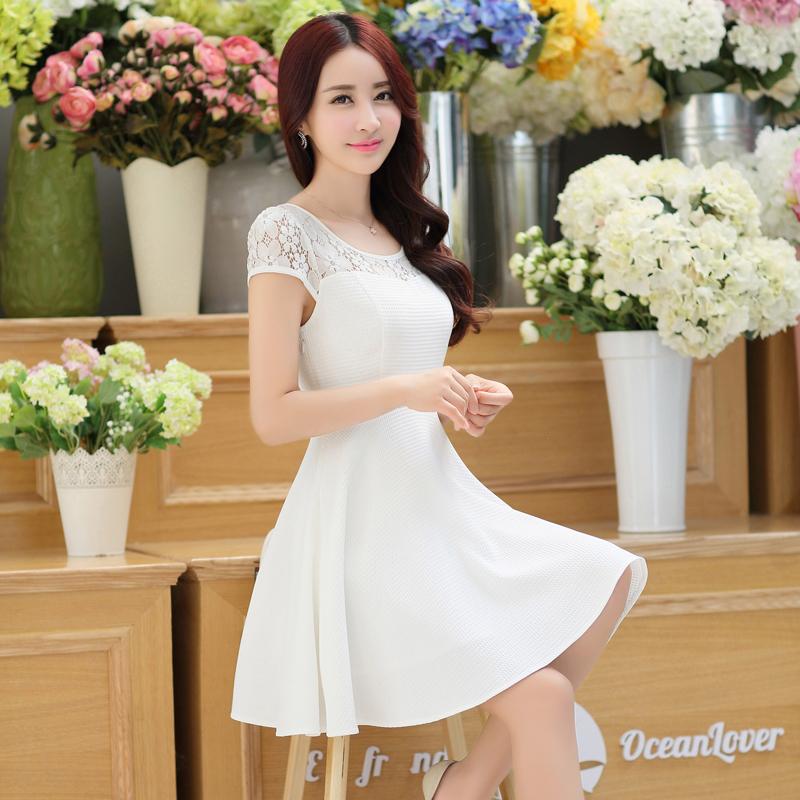 裙子夏女2018新款收腰遮肚小心机连衣裙甜美淑女小个子夏天蕾丝裙