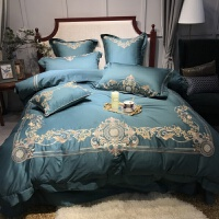 婚庆多件套60支长绒棉四件套宫廷刺绣花床上用品被套床单 墨绿色 浮华