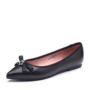 Tata/他她2018春专柜同款牛皮革蝴蝶结尖头浅口女休闲鞋S1451AQ8