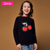 【4件2折价:107.8】笛莎童装女童针织衫2019冬装新款中大童儿童印花套头针织毛衣