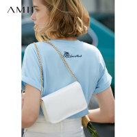 【预估价81元】Amii极简温柔气质短袖T恤2019夏不规则莫代尔宽松绿色短袖上衣女