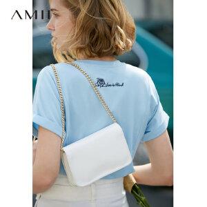 【到手价:71.9元】Amii极简温柔风气质圆领短袖T恤2019夏新不规则莫代尔宽松T恤