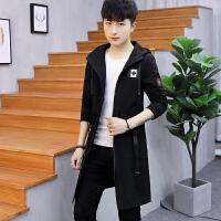 春装夹克男风衣中长款2018新款男外套韩版高中学生青少年修身外衣 黑色