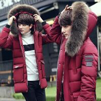 新冬季男士修身羽绒服青年加厚中长款外套男装学生潮 红色 库存不多
