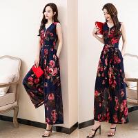 两件套裙子女夏2018新款韩版收腰时髦套装裙中长款雪纺印花连衣裙