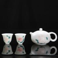 西施壶德化白瓷羊脂玉瓷茶壶手绘大号茶壶套装陶瓷功夫茶具单壶 西施壶 手绘含礼盒