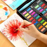 乔尔乔内学生手绘固体水彩颜料24色36色水粉画套装便携透明画笔自来水笔套装分装铁盒儿童初学者美术工具