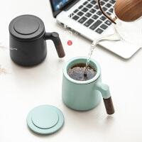 陶瓷杯���w杯子 �R克杯�k公室泡茶杯�^�V茶水分�x茶杯