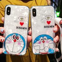 可爱卡通猫咪苹果xsmax手机壳iPhone7plus全包软壳6splus保护套带挂绳8x蓝胖