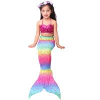 美人鱼尾巴女孩美人鱼服装泳衣公主裙衣服女童儿童美人鱼泳衣 彩虹色 3件套