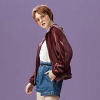 【1件3折到手价:100.8】美特斯邦威针织开衫女时尚酒红色上衣个性短外套潮秋装新款