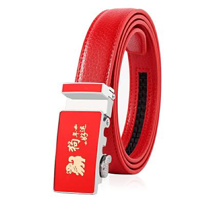 红腰带女本命年女士自动扣皮带青年时尚百搭装饰属狗新款红裤带潮