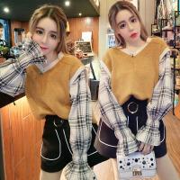 新款韩版休闲bf套装女冬两件套毛衣高腰阔腿裤毛呢短裤呢子潮