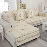 木儿家居 防滑四季可以用沙发垫沙发套 棉质布艺一枝梅