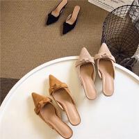 甜美精致韩国绒浅口尖头细跟单鞋高跟鞋气质性感半拖女鞋