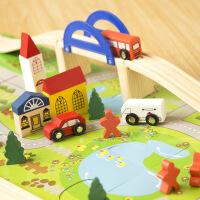 儿童木制玩具火车轨道立交桥积木拆装玩具