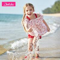 【4件2折价:71.8】笛莎童装女童裤套装夏季新款中大童儿童印花吊带短裤两件套装